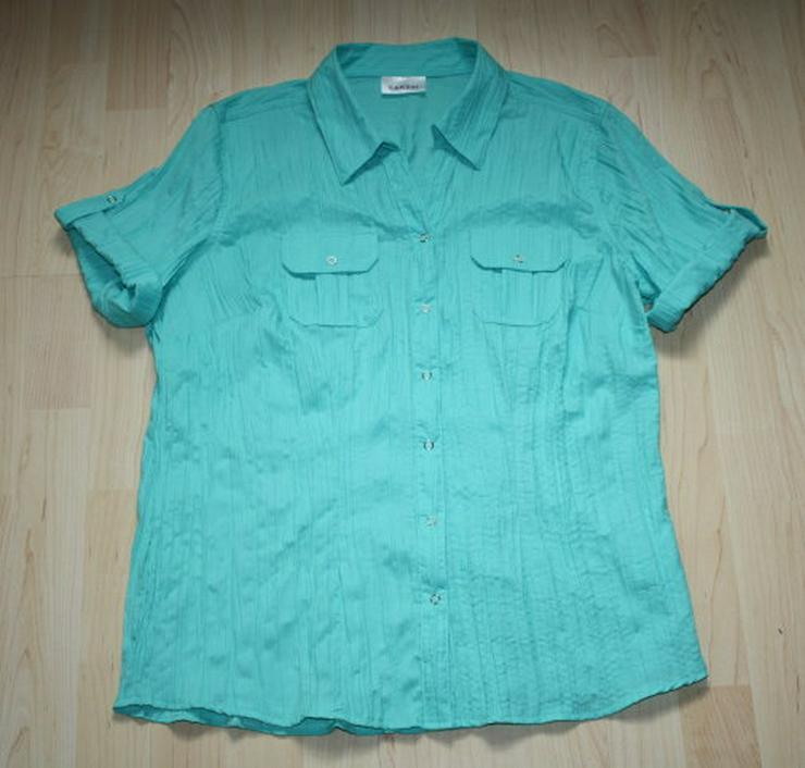Damen Kurzarm Bluse Crinkle Crash Knitterbluse kurzärmelig Halbarm Hemd Knitterlook Optik türkis grün Gr. 40 M NEU