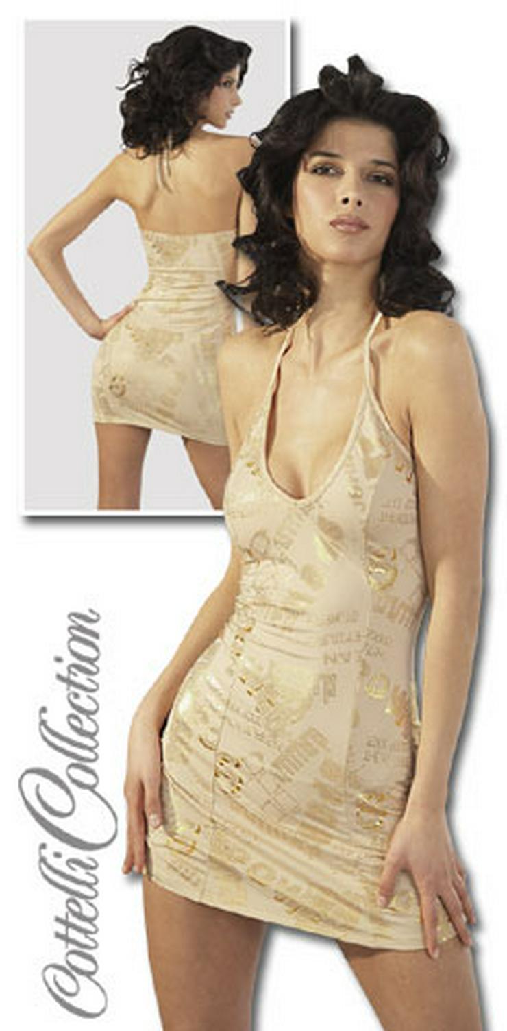 Damen Neckholder Kleid kurz Minikleid Nackenträger schulterfrei Partykleid Cocktailkleid beige/gold Gr. L 44/46 NEU