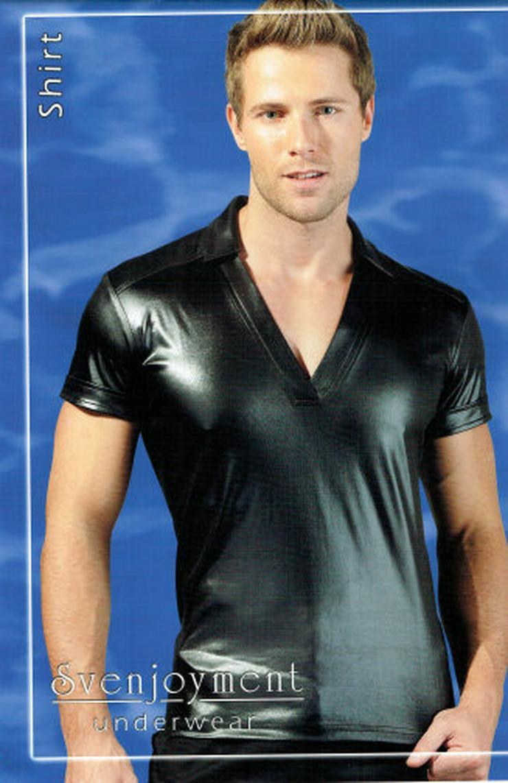 Herren Wetlook T-Shirt Männer Poloshirt Kurzarmshirt V-Shirt Hemd glänzend schwarz Gr. M 48/50 NEU