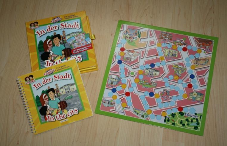 Spielend Englisch lernen Lisa und Erik in der Stadt Lernspiel Brettspiel Lernbuch Übungsbuch In the city NEU