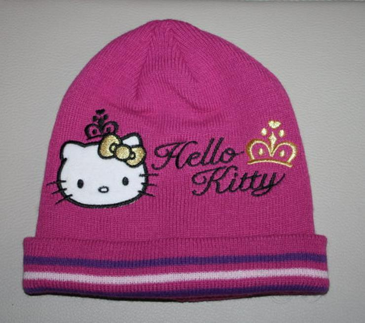 Hello Kitty Mädchen Mütze Beanie Kinder Strickmütze Wintermütze Katze pink/gold Gr. 50/54 NEU