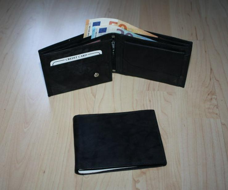 Herren Leder Geldbörse Geldbeutel Brieftasche Portemonnaie schwarz Portmonee NEU
