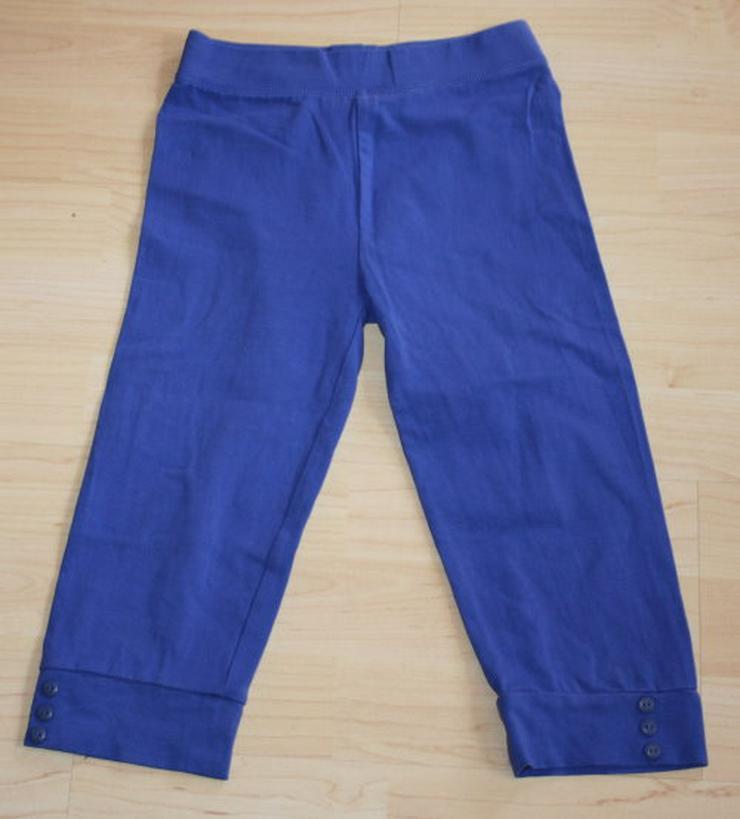 Mädchen 3/4 Leggings kurz Kinder Capri Leggins Hose halblang Caprihose Stretchhose Stoffhose blau Gr. 128 NEU