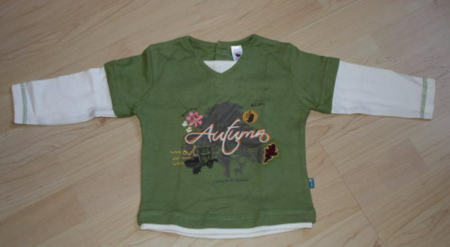 Baby Pullover Mädchen Langarm Sweatshirt Lagenlook 2in1 Pulli Kinder Longsleeve grün/weiß Gr. 80 NEU