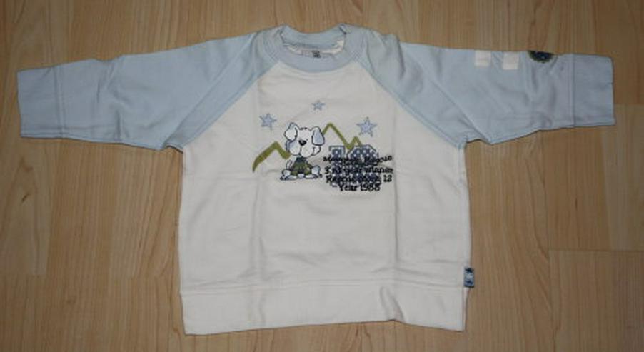Kinder Pullover Hund Baby Pulli Jungen Langarm Sweatshirt Sweater weiß/blau Gr. 74 NEU