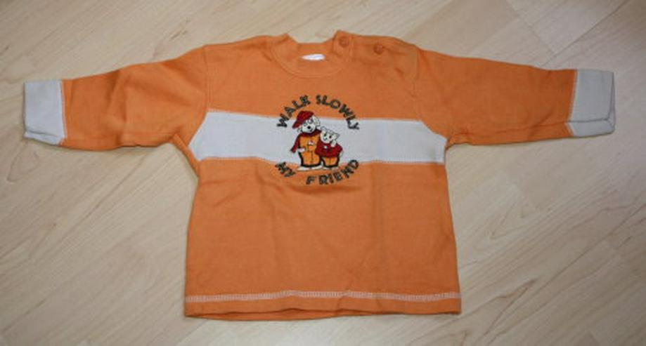 Baby Pullover Kinder Sweatshirt Langarm Jungen Pulli Sweater Hund Katze orange/grau Gr. 74 NEU
