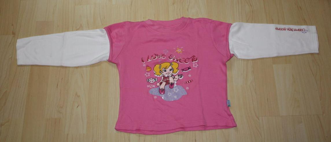 Mädchen Pullover Lagenlook Sweatshirt Langarmshirt Pulli Kinder Longsleeve 2in1 pink/weiß Gr. 110/116 NEU