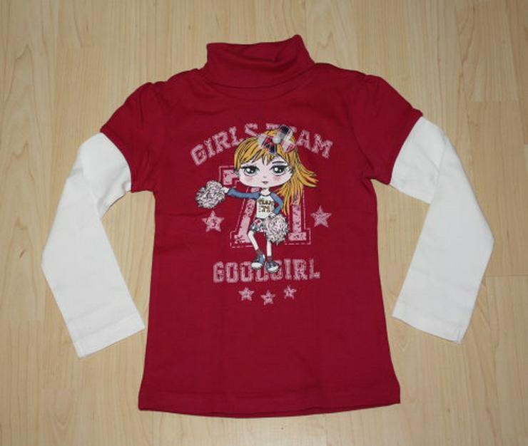 Mädchen Rollkragen Pullover Kinder Pulli Langarm Lagenlook Sweatshirt 2in1 Rolli pink/weiß Gr. 110 NEU