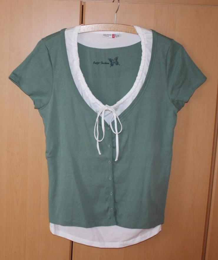 Damen Lagenlook Kurzarm T-Shirt 2in1 Damenshirt Oberteil Kurzarmshirt grün/weiß khaki olivgrün Gr. 44 L NEU