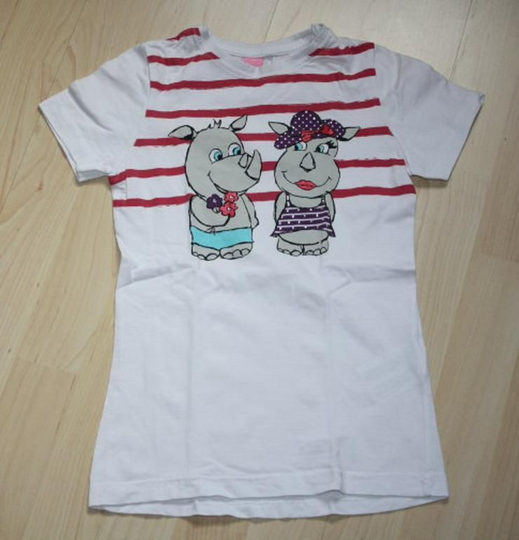 Mädchen Kurzarm T-Shirt Nashorn Kinder Kurzarmshirt Strass Motiv Glitzer Baumwolle weiß Gr. 128