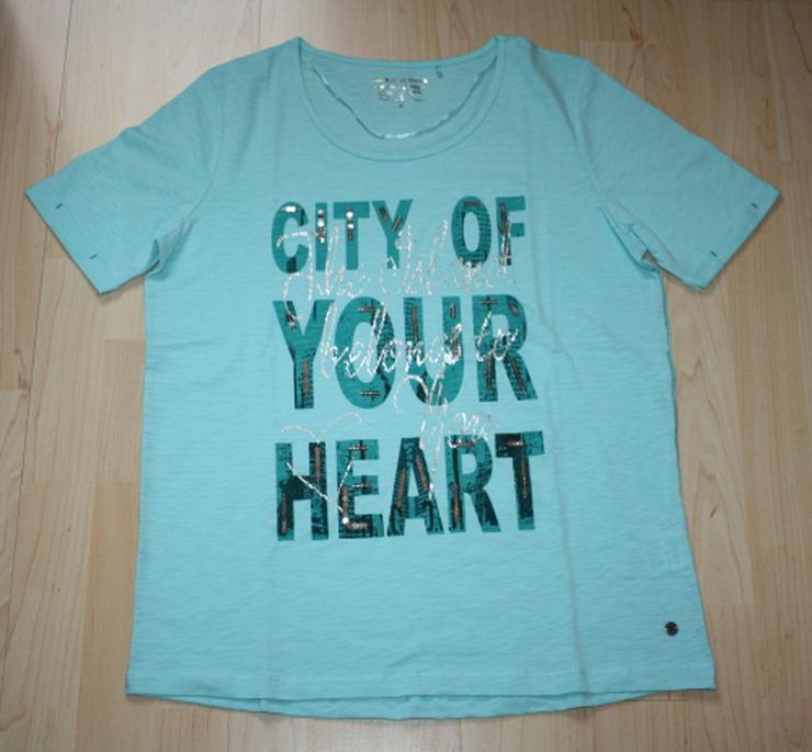 Damen T-Shirt mit Pailletten Glitzer Kurzarmshirt Baumwolle Rundhals türkis mintgrün Gr. S 38 NEU