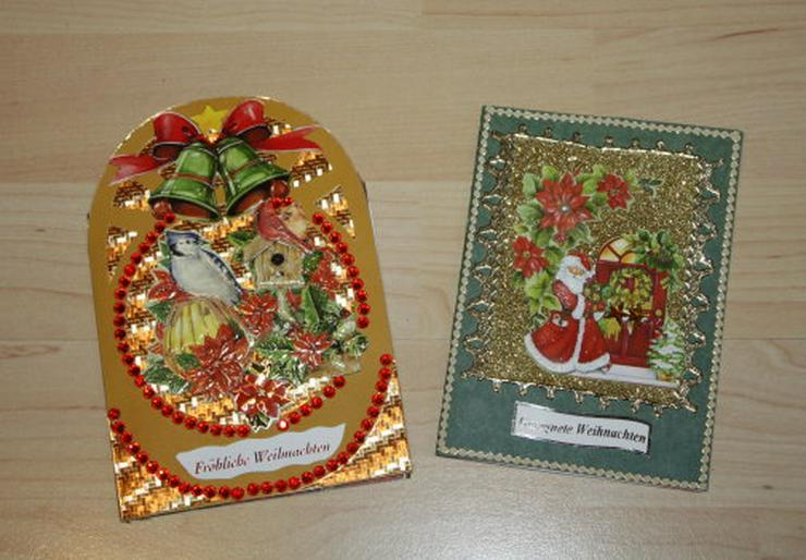 2 Weihnachtskarten Handarbeit Klappkarten Grußkarten Weihnachten Glückwunschkarten Unikat NEU