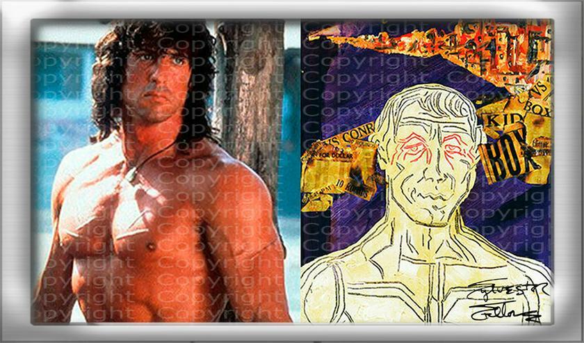 """SYLVESTER STALLONE Collage """"Rocky mischt Italien auf"""" signiert. TOP Kunstdruck. Souvenir. NEU!"""