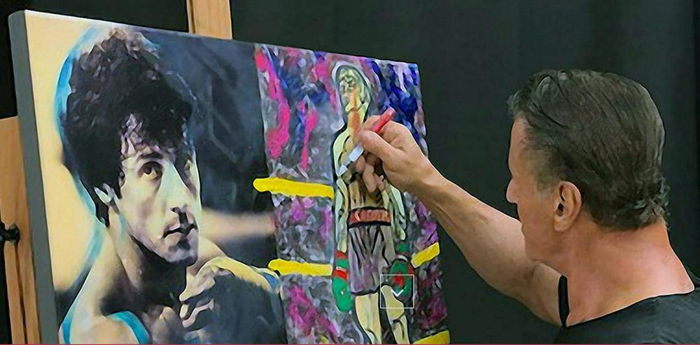"""Bild 9: SYLVESTER STALLONE Collage """"Rocky mischt Italien auf"""" signiert. TOP Kunstdruck. Souvenir. NEU!"""