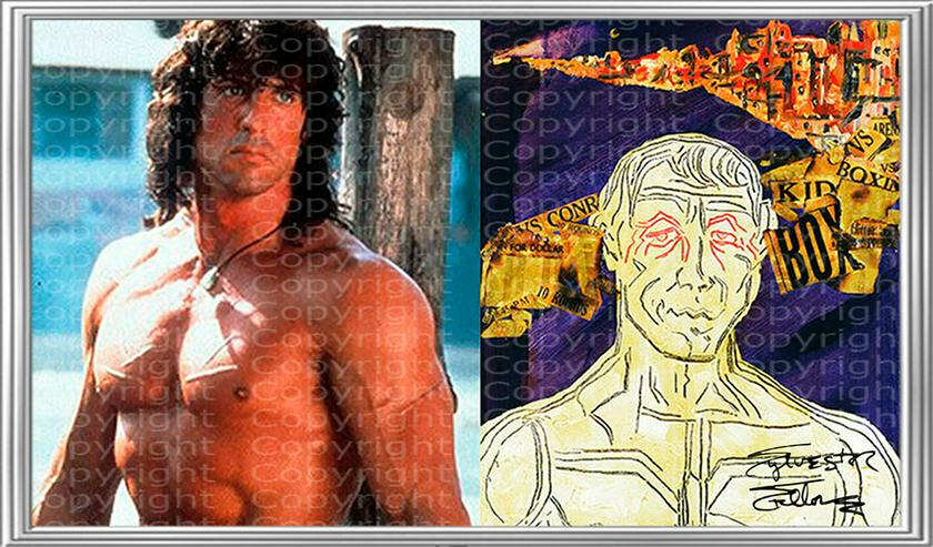 """Bild 7: SYLVESTER STALLONE Collage """"Rocky mischt Italien auf"""" signiert. TOP Kunstdruck. Souvenir. NEU!"""