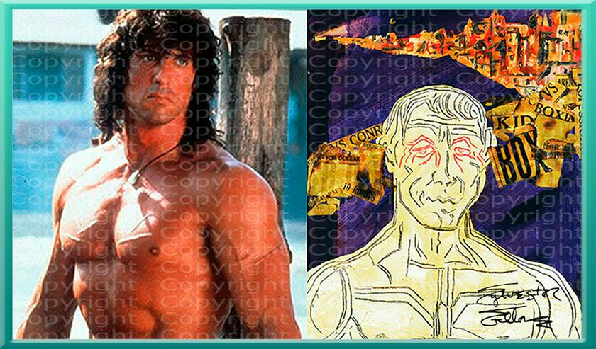"""Bild 8: SYLVESTER STALLONE Collage """"Rocky mischt Italien auf"""" signiert. TOP Kunstdruck. Souvenir. NEU!"""