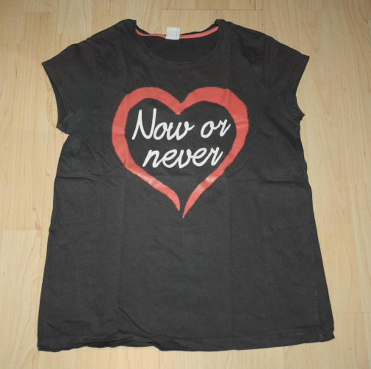 Mädchen Kurzarm T-Shirt Girl Teen Kinder Kurzarmshirt Herz Glitzer Baumwolle grau Gr. 158/164