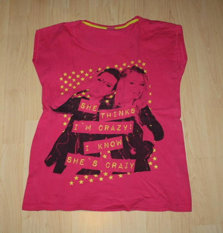 Mädchen Kurzarm T-Shirt Girl Teen Kinder Kurzarmshirt Crazy Glitzer Baumwolle pink Gr. 158/164 NEU