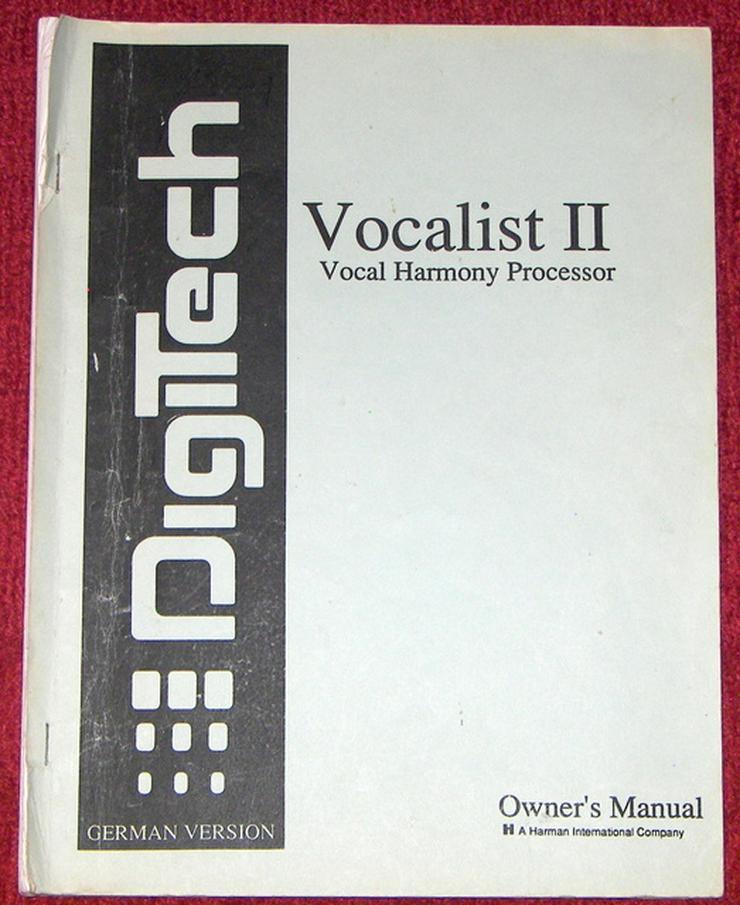 Bedienungsanleitung deutsch für DigiTech Vocalist II Owner's Manual Vocal Multi Effects Processor