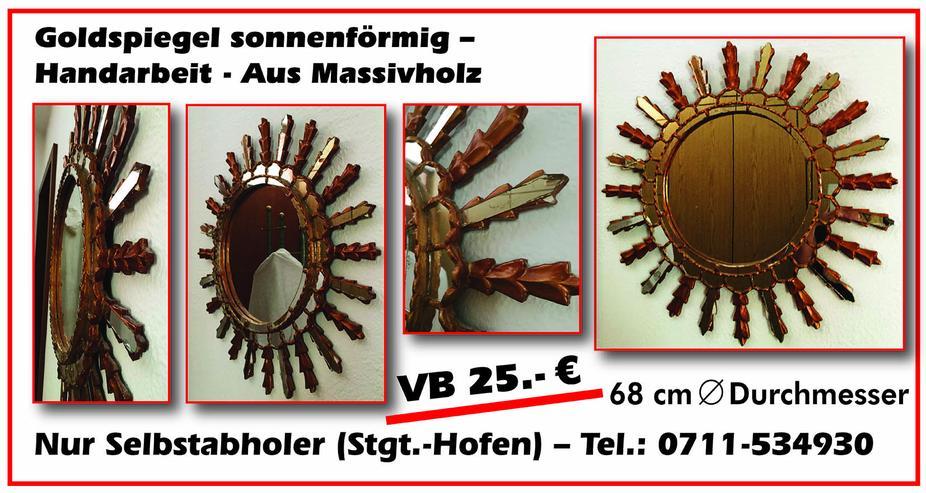 Goldspiegel sonnenförmig -  Handarbeit gefertigt - Aus Massivholz