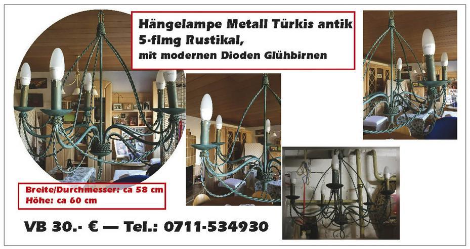 Hängelampe Metall, Türkis, 5-flmg Rustikal, mit modernen Dioden Glühbirnen