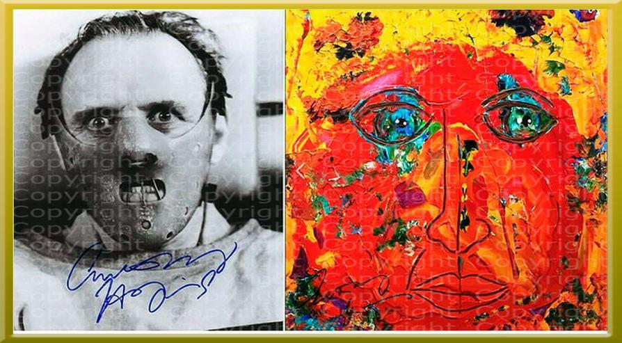 ANTHONY HOPKINS Collage. Signiert. NEU. Souvenir. Rarität. Andenken.