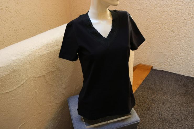 Shirt m. Spitze, Gr. 38, schwarz, Helline - Größen 36-38 / S - Bild 1