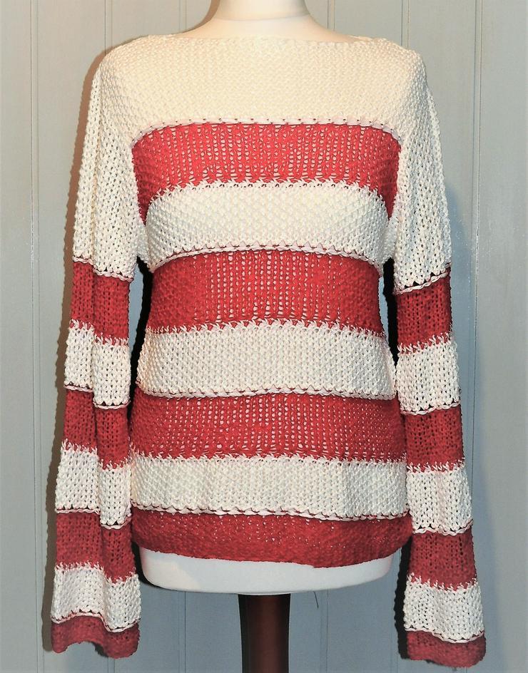 Grobstrick Pullover von Heine in rot weiß Größe 36 NEU