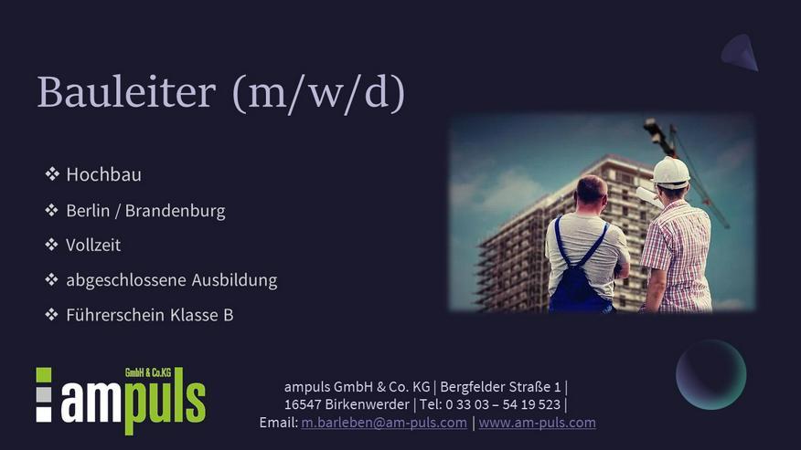 Bauleiter (m/w/d) im Hochbau