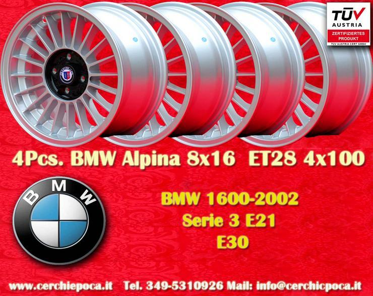 4 Stk. BMW Alpina 8x16 4x100 BMW E21 E30 Gutachten