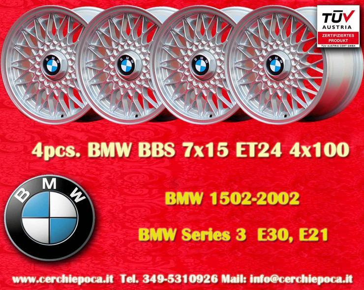 4 Stk Felgen BMW BBS Nachbau 7x15 ET24 4x100 Silber mit TUV