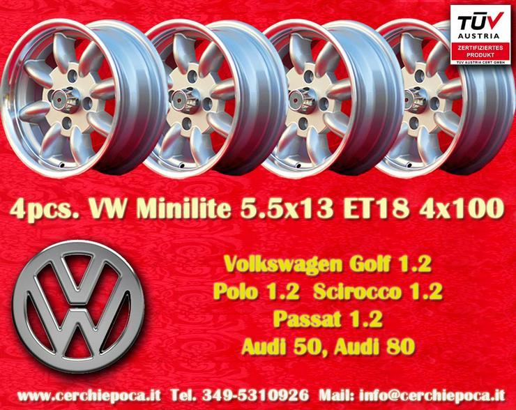 4 VW Felgen Golf Polo Minilite 5.5x13 ET18 4x100