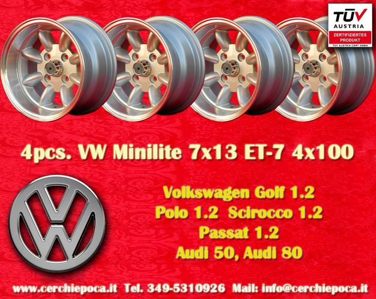 4 VW Felgen Golf Polo Minilite 7x13 ET-7 4x100