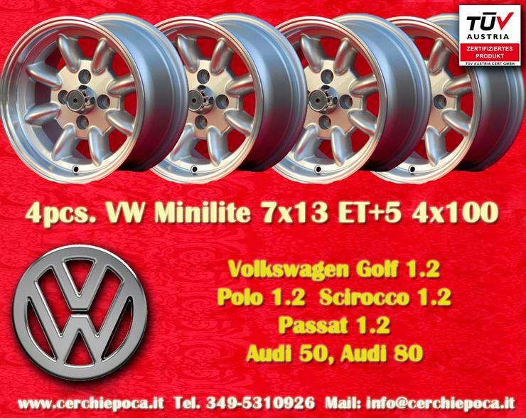 4 VW Felgen Golf Polo Minilite 7x13 ET5 4x100