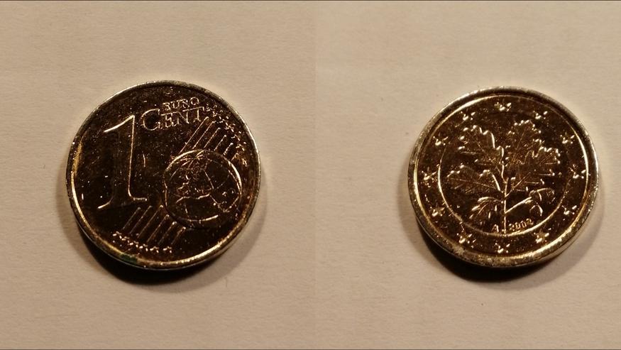 1-Cent Münze / Fehlprägung / vergoldet bzw. vermessingt - Euros - Bild 1