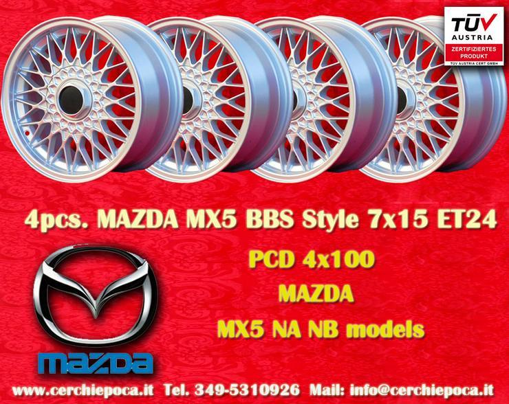 4 Stk Felgen Mazda MX5 BBS Nachbau 7x15 ET24 mit TUV - Alufelgen - Bild 1