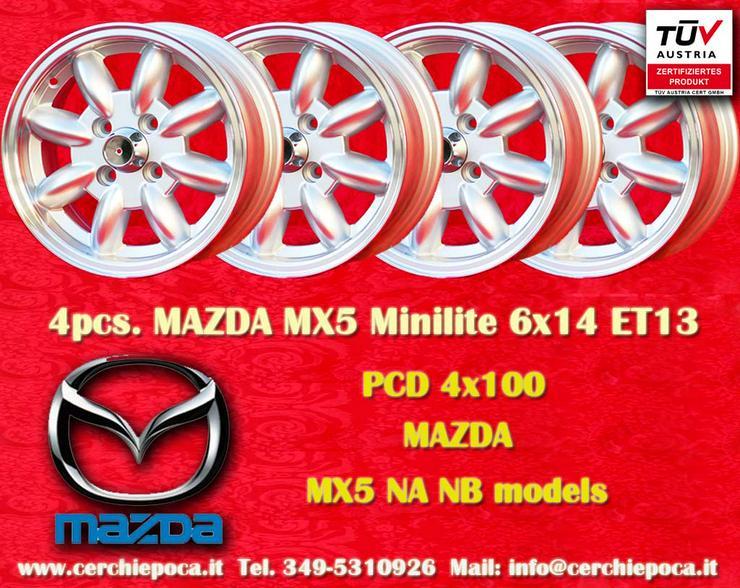 4 Stk Felgen Mazda MX-5 NA NB Minilite 6x14 ET13 4x100 TUV - Alufelgen - Bild 1