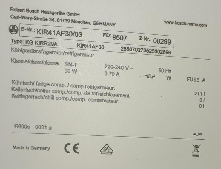Bild 4: Tür-Flaschenhalterung für Bosch/Siemens Kühlschrank KIR 41AF30