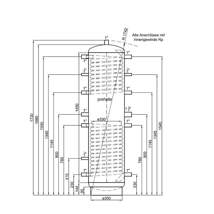 Pufferspeicher 200L Speicher für Heizung Solar Kamin Pelletofen prehalle - Durchlauferhitzer & Wasserspeicher - Bild 1