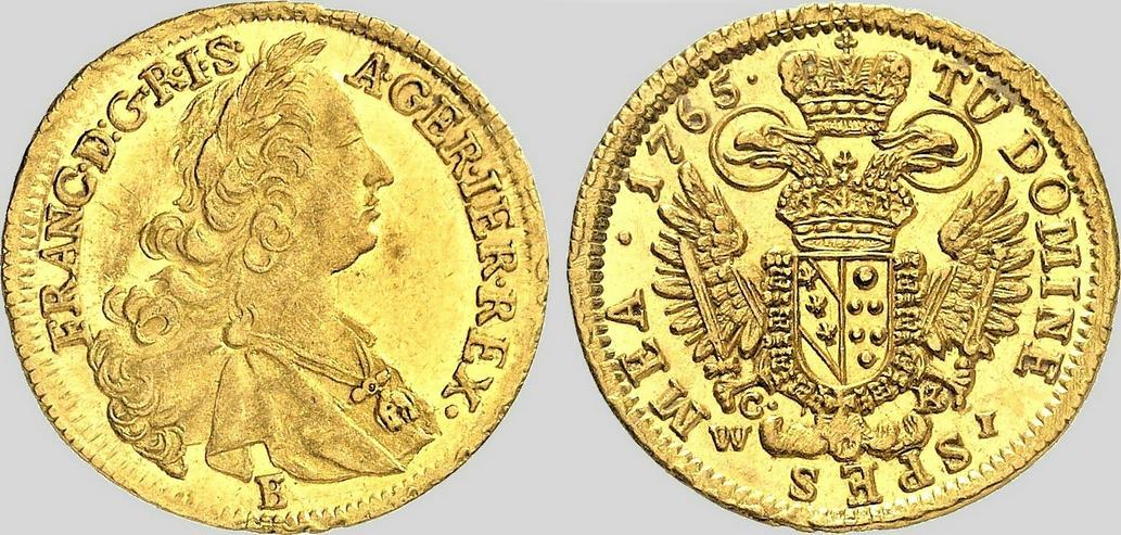 RÖMISCH-DEUTSCHES REICH Franz I., 1745-1765. Dukat 1765 E/CK-WI, Wien. Gold. Sehr selten.