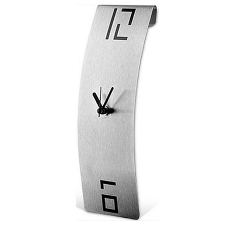 Clock Arts® Designer Wanduhr mit gekrümmtem Corpus aus gebürstetem Edelstahl