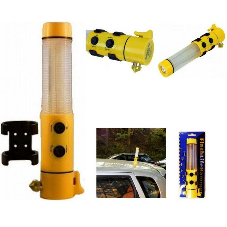 FlashLife Hammer© (Auto-)Unfall Überlebensset mit 5 Funktionen (Notschlaghammer, Gurtschneider, Not- und Sicherheitsbeleuchtung, Taschenlampe, Arbeitsleuchte)