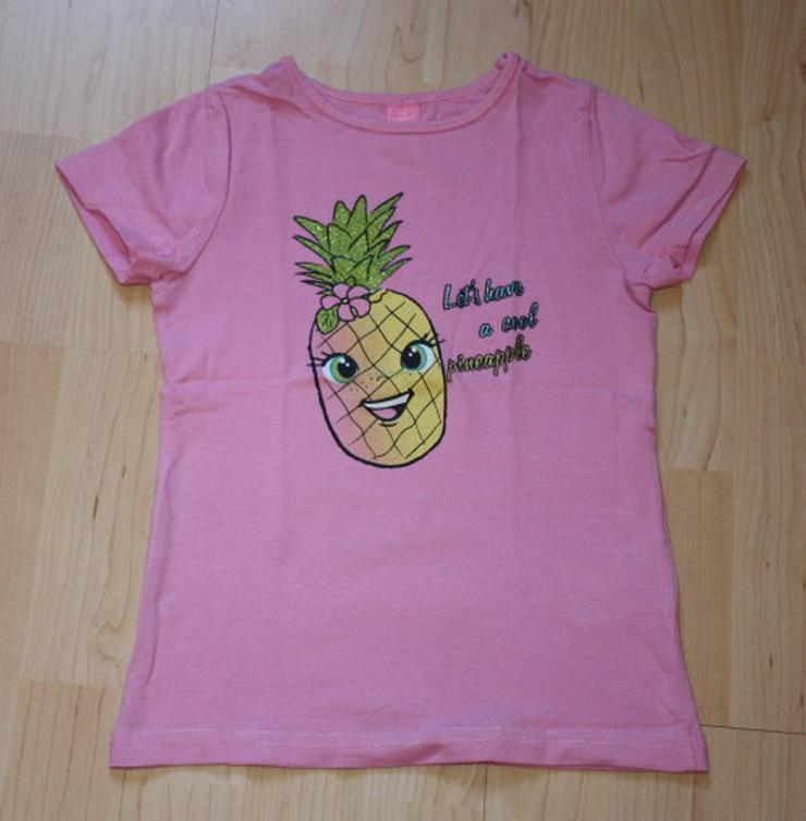 Mädchen Kurzarm T-Shirt Ananas Kinder Kurzarmshirt Pineapple Baumwolle Glitzer rosa pink Gr. 110