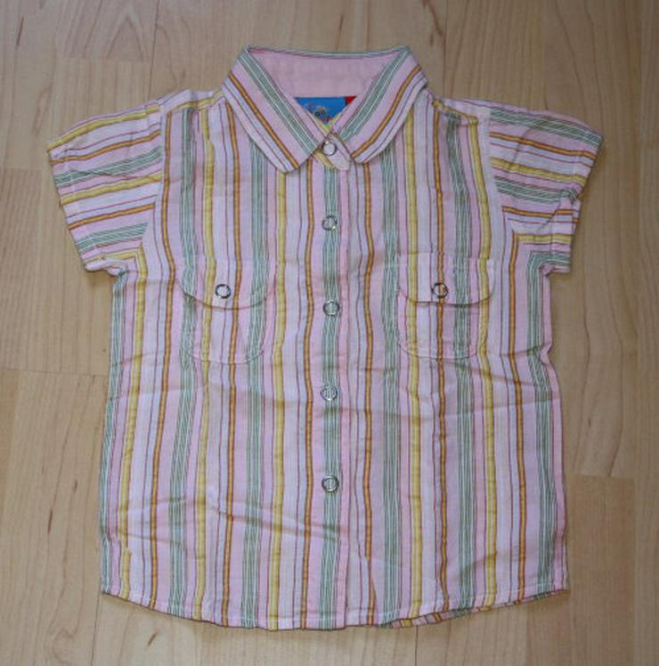 Mädchen Kurzarm Bluse Kinder Sommerbluse kurzärmelig Baby Hemd Topolino bunt gestreift Gr. 86