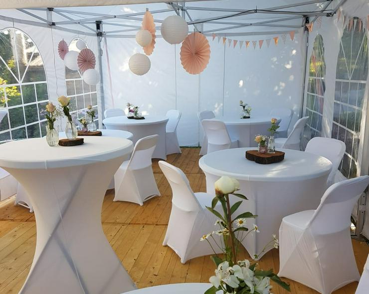 Partyzelt, Event Pavillon Zelte inkl. Zeltboden Tische Stühle Hussen mieten KOMPLETT ANGEBOT