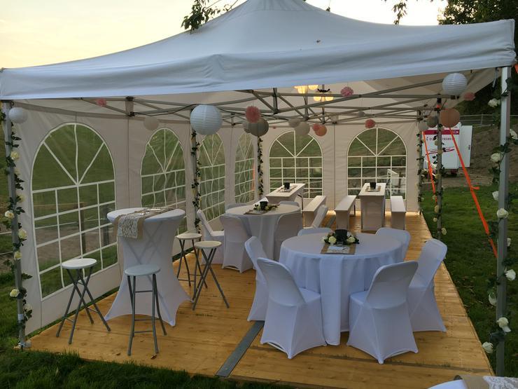 Partyzelt Pavillon Zelte Tische Stühle Hussen mieten für Hochzeit KOMPLETT ANGEBOT