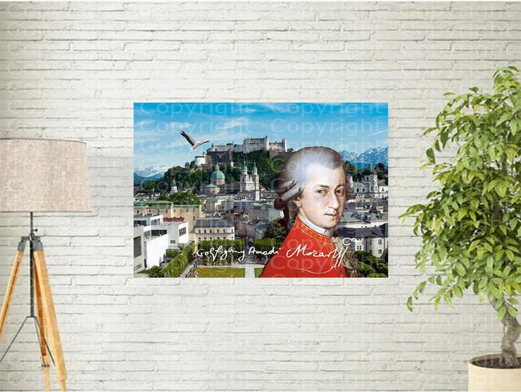 Mozart Kunstposter 40x30 cm. Souvenir-Geschenk-Andenken-Sammlerstück. BRANDNEU!