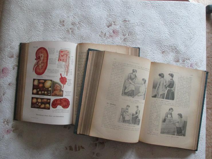 """Bild 4: """"Die Aerztin zu Hause"""", 2 antiquarische Bücher"""