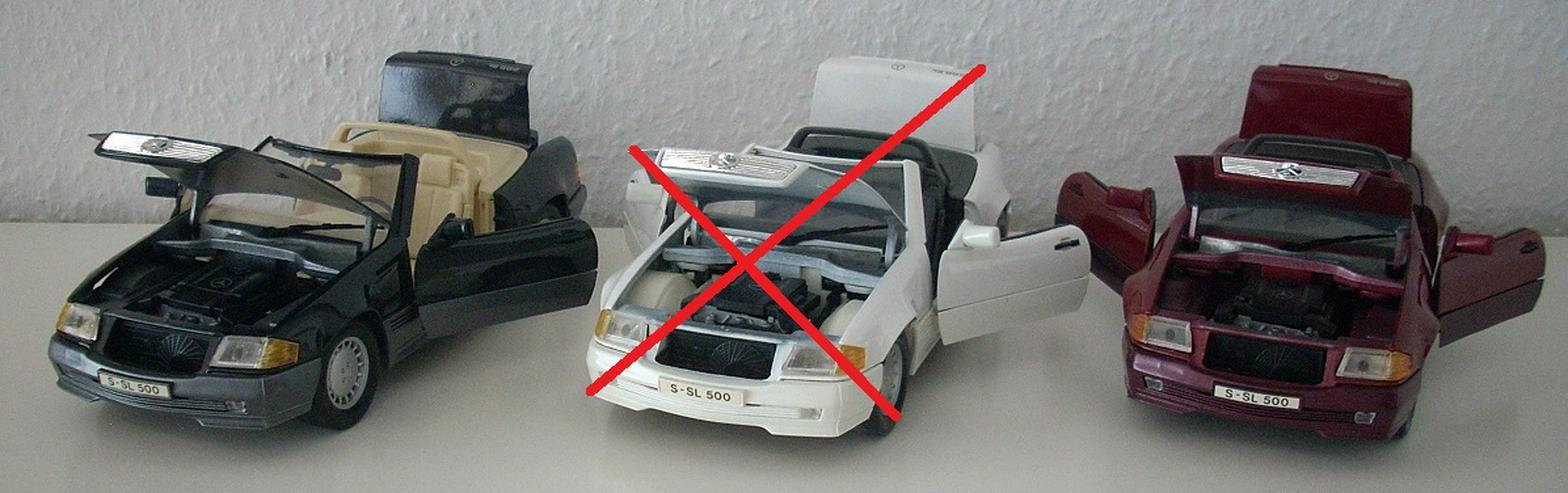 Bild 2: Mercedes 500 SL (1989) - schwarz / bordeauxrot - Modellauto 1:18 - MAISTO