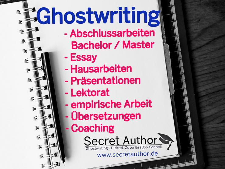 Ghostwriting / Ghostwriter: Bachelor / Master / Hausarbeit